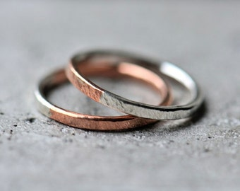 Copper and sterling silver rings - textured ring - mixed metal rings - made to order