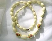 W Germany Necklace Creamy Vintage Plastic Beads Flower Transfers Costume Jewelry