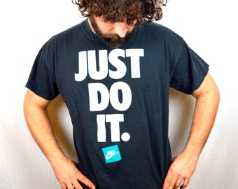Vintage 80s NIKE Just Do It  Tee Shirt - Gray Tag