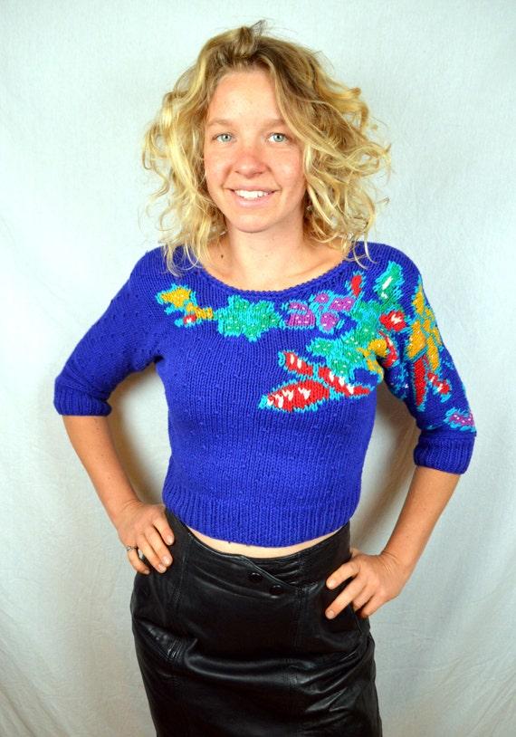 Vintage 1980s Liz Claiborne Cropped Floral Knit Sweater