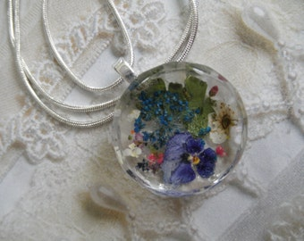 Purple Pansy,Bridal Veil,Queen Anne's Lace,Maidenhair Ferns Faceted Edge Pressed Flower Glass Pendant-Symbolizes Loyalty-Gifts Under 30