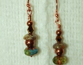 "Tribal Boho CZECH Glass and COPPER Earrings Native American Rosebud Lakota Sioux ""A"""