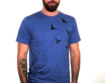 BIRD Graphic Tee. Mens Blue Printed Tee. ScreenPrinted Tshirt. Flying Birds Tshirt. Crow Print Tshirt. Ravens Blackbirds Tee. Mens Tree Tee