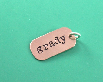 Additional copper rectangle tag, add-on to necklace