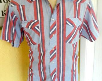 Wrangler 1980s cowboy union jack shirt sleeve shirt - size extra large