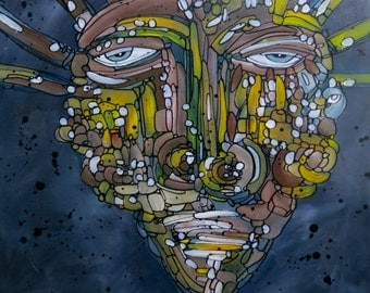 Modern Contemporary Abstract Portrait Painting Face Art
