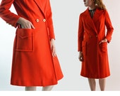 Vintage 60s Womens Coat / Bright Red Dress Coat / Butte Knit Lightweight Double Breasted Dress Coat / 1960s Mod Coat S / M