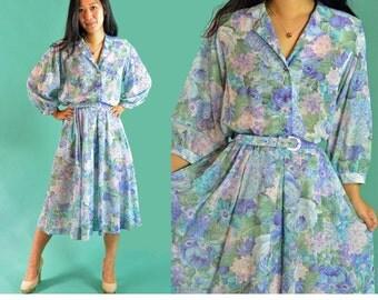 Vintage 70s Dress / Sheer Floral Garden Party Dress / 3/4 Puff Sleeves Full Skirt Romantic Bohemian Day Dress / 70s Shirtwaist Dress M / L