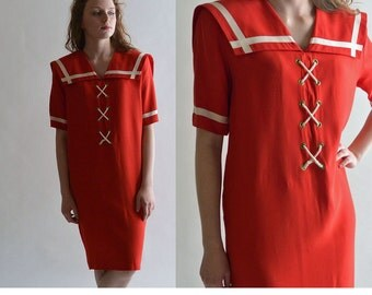 Vintage 80s Dress Sailor Dress / Red Nautical Sailor Collar Mini Dress / 80s Dress Casual Shift Dress / Lace Up Front Summer Dress S / M