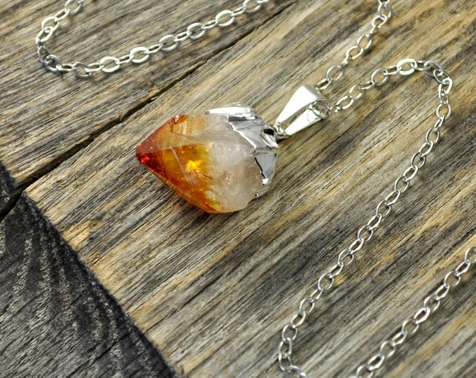 Citrine Necklace, Citrine Pendant Necklace, Citrine Silver Necklace, Citrine Point Necklace, Sterling Silver Chain