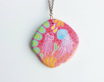 Jellyfish Necklace - wearable art jewellery, hand painted necklace, sea creature illustration, nautical paper clay jewelry, clearance sale