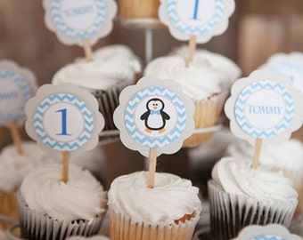 CUPCAKE TOPPERS - Penguin Birthday Party Decorations - Blue Penguin Birthday - Winter Onederland - Blue Onederland Cupcake Toppers (12)