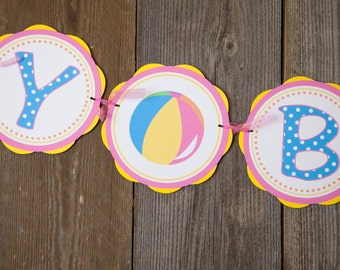 Pool Party HAPPY BIRTHDAY Banner, Pool Birthday Decorations, Pool Party Banner, Beach Birthday Party, Girl Birthday, Summer Birthday