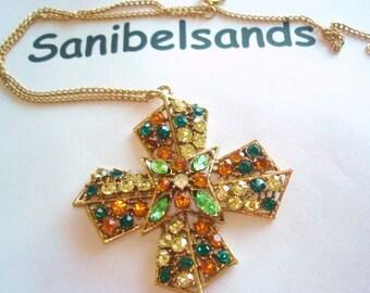 Maltese Cross Multi Color Rhinestone  Vintage Jewelry Pendant Gold Tone.
