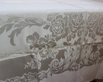 "Damask Tablecloth Off White Satin Shiny Roses Large 63"" x 81"" VINTAGE by Plantdreaming"
