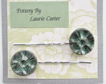 Green-Teal Fancy Bobby Pins, Ceramic Jewelry Bobby Pins, Dress Hair Clips, Green Floral Imprinted Bobby Pins, Dress Bobby Pins