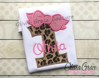 Girls Birthday Shirt - Birthday Number Shirt - Leopard Birthday shirt - Embroidered Bodysuit or Shirt for 1st, 2nd, 3rd, 4th, 5th Birthday