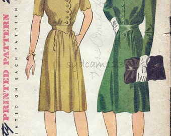 Vintage 1940s Pattern Shirtwaist Dress Optional Scalloped Sleeves Pockets and Bodice 1944 Simplicity 4867 Bust 30