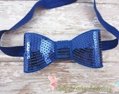 Royal Blue Sequin Hair Bow, Large Sequined Royal Blue Hair Bow Stretchy or Hard Headband, Infant Baby Toddler Child Girls Headband