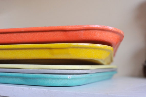 Reserved for Stacy /// Orange, Light Yellow and Teal Camtrays, Fiberglass Lunch Serving Tray
