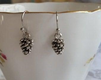 Tiny Pinecone Earrings. Pine Cone Earrings. Rhodium Ear Wires,