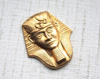 3 Vintage Egyptian Pharaoh Brass Stampings // King Tut // NOS Jewelry Supply