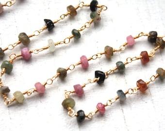6 Feet Faceted Watermelon Tourmaline Gemstones on Gold Plated Wire Chain // Wire Wrapped Bead Chain // Jewelry Supply