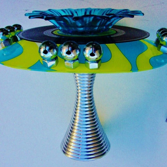 """RECORD ART, Votive, Trinket Dish, British Import Pub Rock """"The Mirrors,"""" Mid Cent Pedestal, Glass Dish, Psychedelic Plate, Green Blue Silver"""