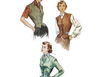 Late 1940s Waistcoat Weskit Jacket Blouse Pattern Simplicity Patterns 2962 B30 Sz 12