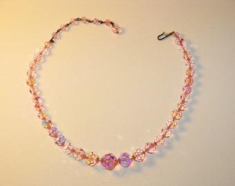 Vintage Laguna Pink Swarovski Crystal Necklace (N-2-4)