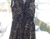 Handmade Vintage Dress with Bat Print Halloween Fabric