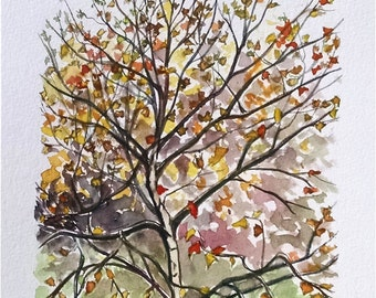 Fall Tree Watercolor Landscape Painting - 8x10