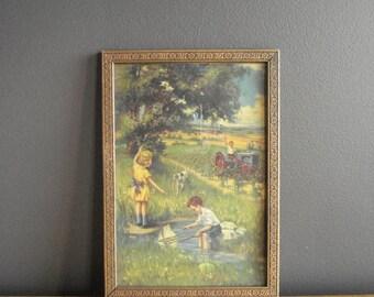 Gorgeous Gold Flower Frame - Vintage Picture Frame - Carved Detail - Vintage Farm Illustration