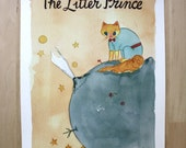 The Litter Prince- Little Prince Parody Book Cover Cat Art- Digital Print 11X14""