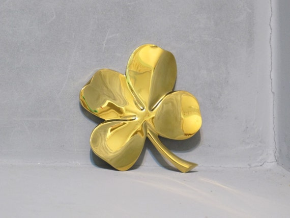 Vintage Gold Plated Four Leaf Clover Paperweight Decorative