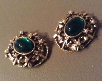 Vintage Gold Earrings.  Green Cabochon Clip on earrings. Hollywood glamour.