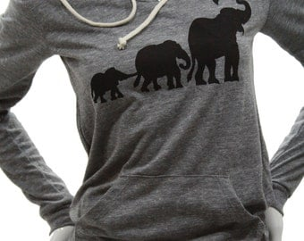 Elephants| Lightweight classic pullover hoodie| art by MATLEY| Umbrella elephant| soft organic cotton blend| Great gift for her.
