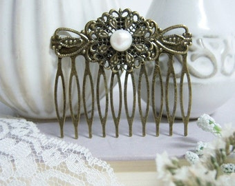 Fresh Water Pearl Vintage Hair Comb/Vintage Hair Comb/ Hair Comb With Pearl/Large Vintage Hair Comb/Bridal Pearl Hair Comb/