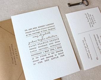 Letterpress Wedding Invitation - Text Block Design - Calligraphy, Modern, Elegant, Simple, Classic, Typographic, Custom, Formal, Destination