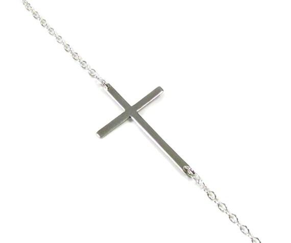Kelly Ripa Sideways Cross Necklace - Sterling Silver, Roseark