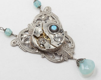 Steampunk Necklace Vintage Pocket watch movement blue crystal, Opal & Chalcedony Victorian silver flower filigree Statement necklace