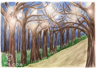 watercolor trees, landscape painting, small original art, surreal watercolor, night painting