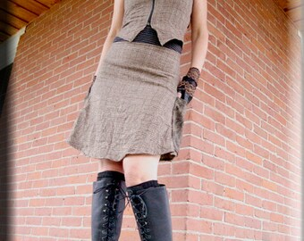 SALE - Vest - Steampunk Bohemian Corset - Boho Tweed Vest - Shabby Chic - Western Style - Burning Man - Brown Brocade - Corset - Size Large