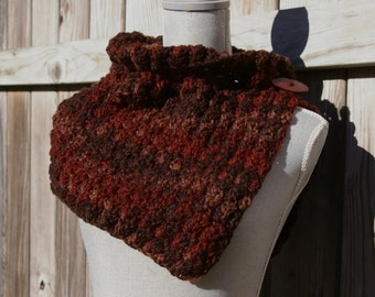 Crochet Neck Warmer, Cowl Scarf, Capelet in Shades of Brown and Rust