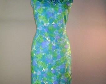 60s dress 1960s vintage IMPRESSIONIST BLUE GREEN purple garden party ruffle silk dress