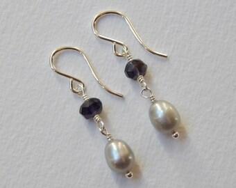 Iolite and Pearl Earrings - Sterling Silver Earrings Beadwork Earrings Dangle Earrings Platinum Pearl Earrings