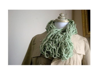 Taupe - Sage & Forest Green Infinity Scarf. Fashion Cowl Edgy Feminine Chunky Collar, Handwoven Knit. Garden Chic Party. Youthful Preppy Fun