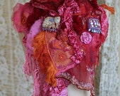Urban nomad - shabby bohemian, bold rustic textile collage shawl, , textile art, embroidered,