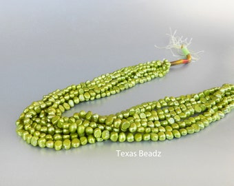 Green Pearls, Lime Green Pearls, 6mm x 8mm Loose Pearls Beads, Nugget Pearls