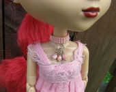 Berry Nice Doll Choker Necklace for Pullip and Blythe Dolls Pink Opaque White